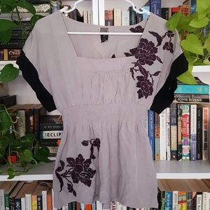 Lithe embroidered silk blouse
